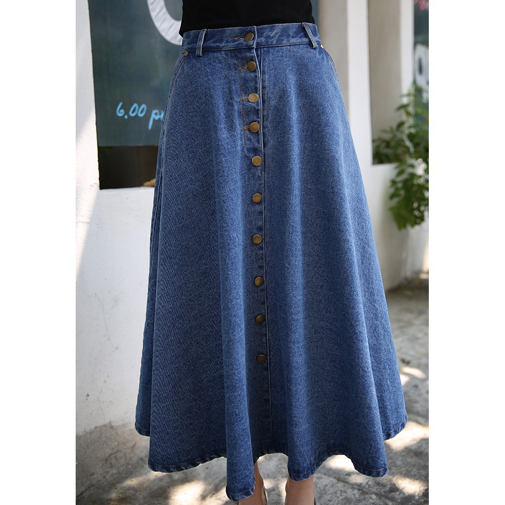 346f8d27a9 ProductImage. ProductImage. Ready Stock Fashion Women Causal Long A line Denim  Skirt Maxi Skirts Dresses