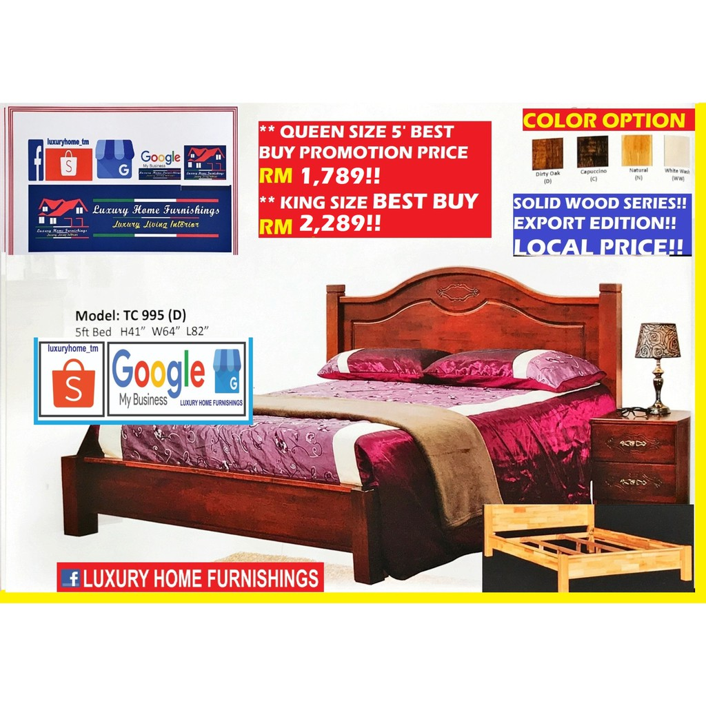 SOLID WOOD SERIES BED COLLECTIONS, 995D QUEEN SIZE BED WITH DOUBLE SUPPORT BASE!!