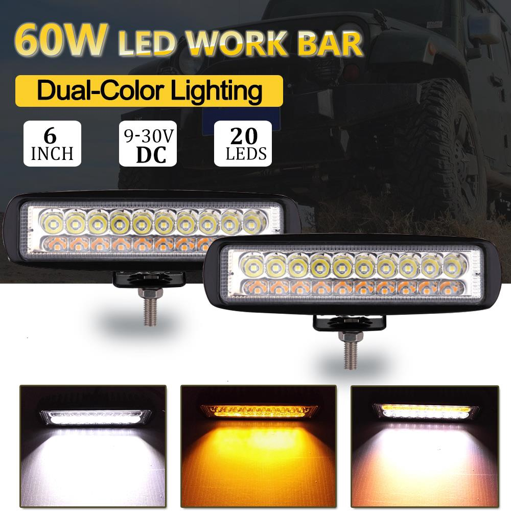 """Two 6/"""" Super Bright 18 led 54w Dual Color Car Work Lights 2000lm Fog Lamps Drl"""
