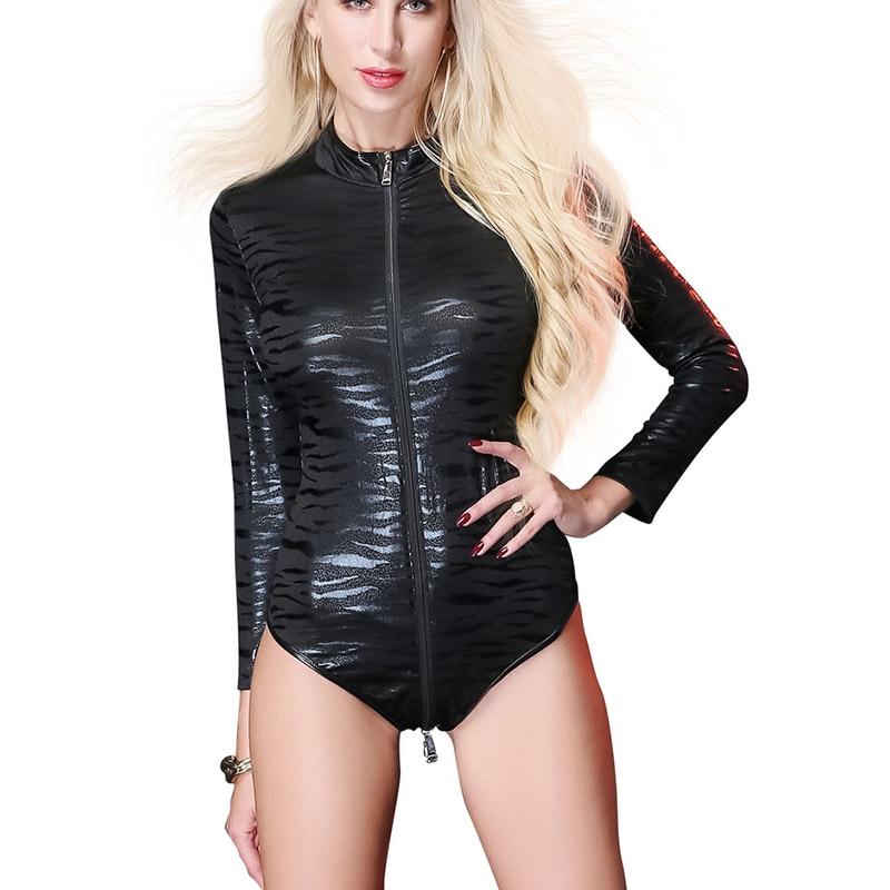 9676a95502 Sexy Lingerie Faux Leather Women Bodysuit Front Zipper To Back Tight  Jumpsuit