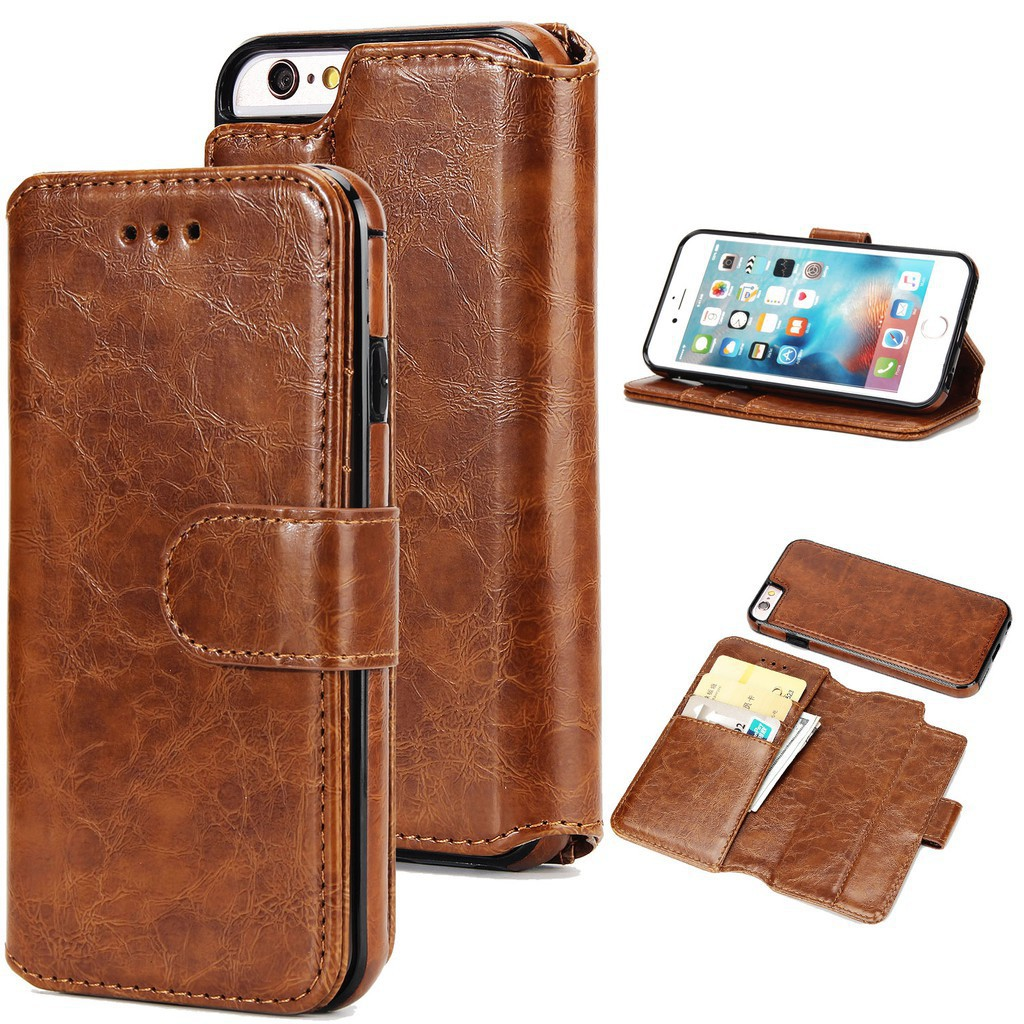 buy popular cee01 2c86e 2 in1 PU Leather Soft Wallet Cover for iPhone 5 SE 5S 6 6s Plus phone Case