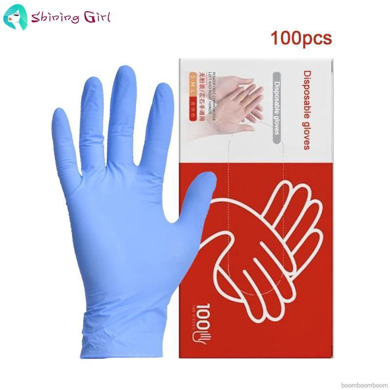 Blue Nitrile Disposable Gloves AQL 1.5 tattoo mechanic examination size M 100 GLOVES