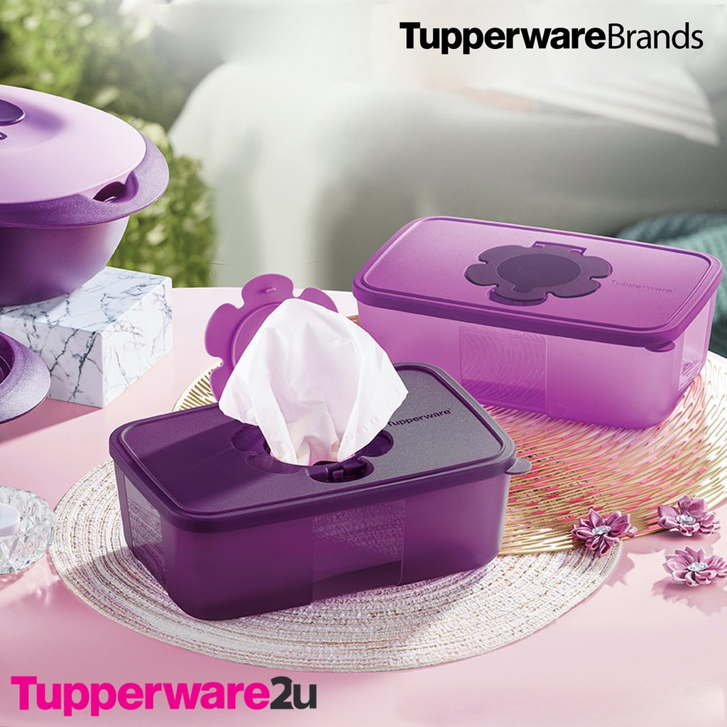 (New)(Ready Stock) Tupperware Purple Royale Tissue box,1.7L (Drewberry or Purlicious)(while stocks last)