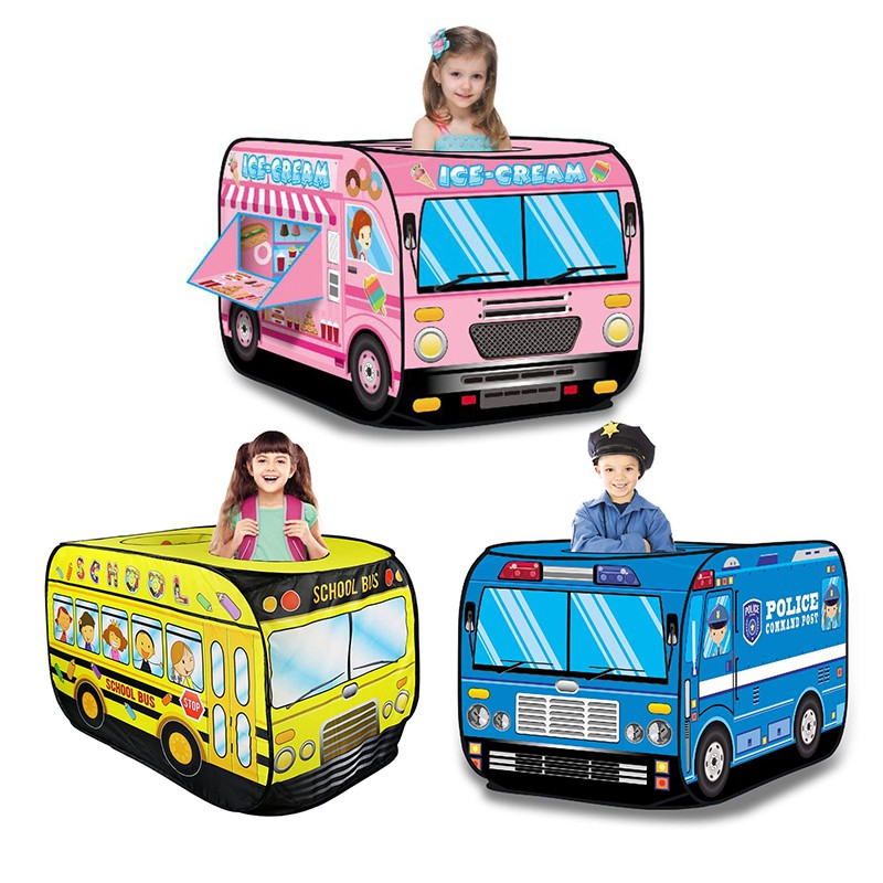 Details about  /Children Fire Engine//Police Car Play Tent Truck Bus House Foldable  Playhouse