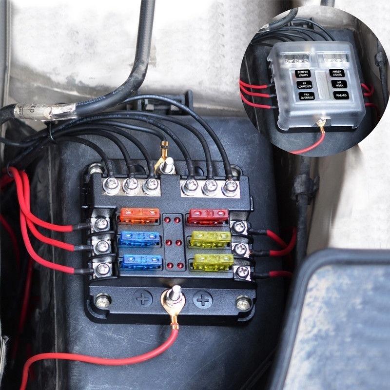 10 Way ATC ATO Circuit Blade Fuse Box Block Holder LED Light For Car Truck Boat