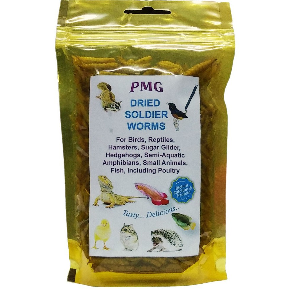 Dried Soldier Worm Black Soldier Fly Larvae 30g - Natural Treats for Arowana Fish and Pets, Fish Bait   Umpan Pancing