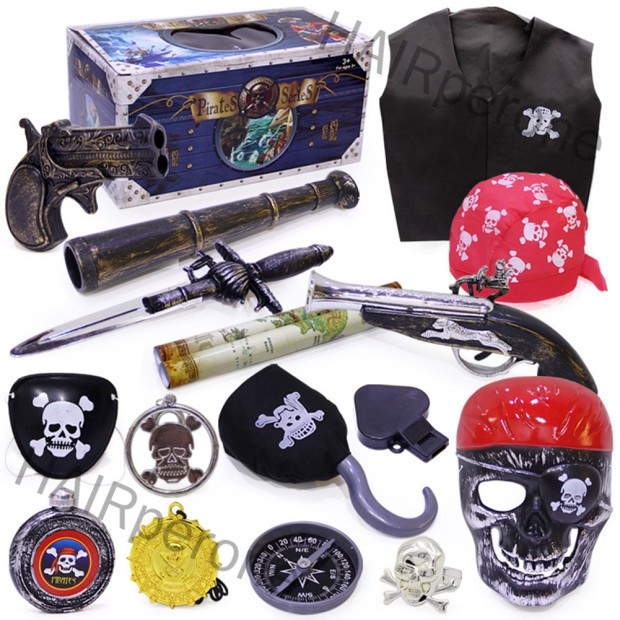 HAIRperone Halloween Pirate Toy Costume Accessories Set Crazy Toy Screaming Mask Facial Skeleton Pirates Figure of Actio