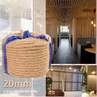 2 Meters 6//8//10//12mm Natural Brown Jute Hemp Rope Twine String Cord Shank Craft