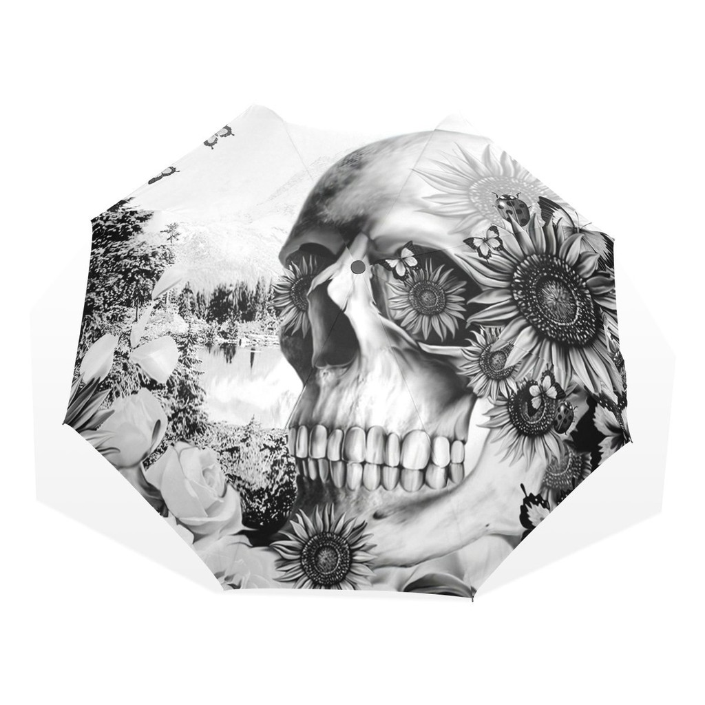 da29c792deeb Skull Art Flower Fashion Umbrella Windproof Folding Travel Compact Umbrella