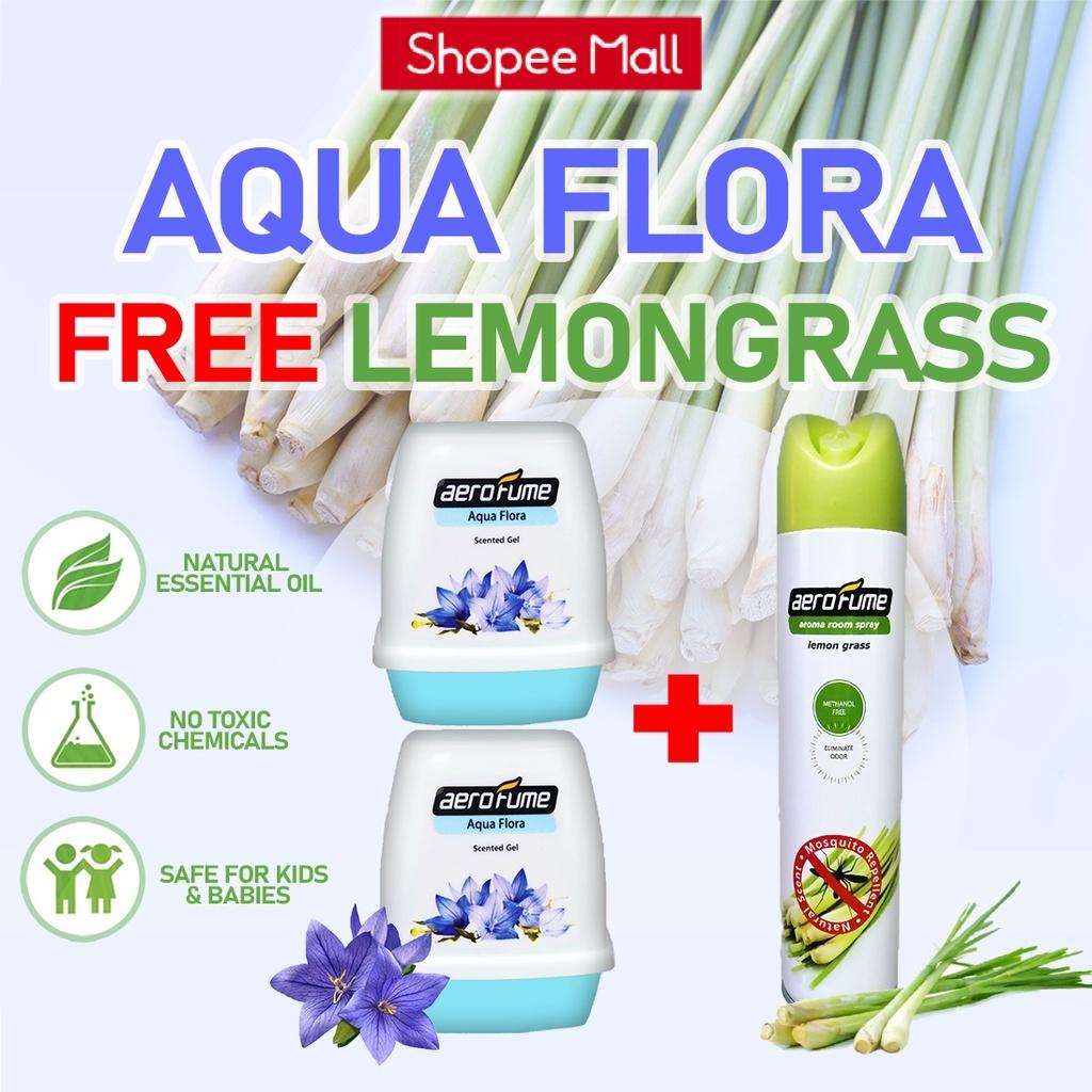 Lemon Grass Aroma Spray (1 Pcs) + Aqua Flora Scented Gel (2 Pcs) [Bundle] Fragrance Perfume