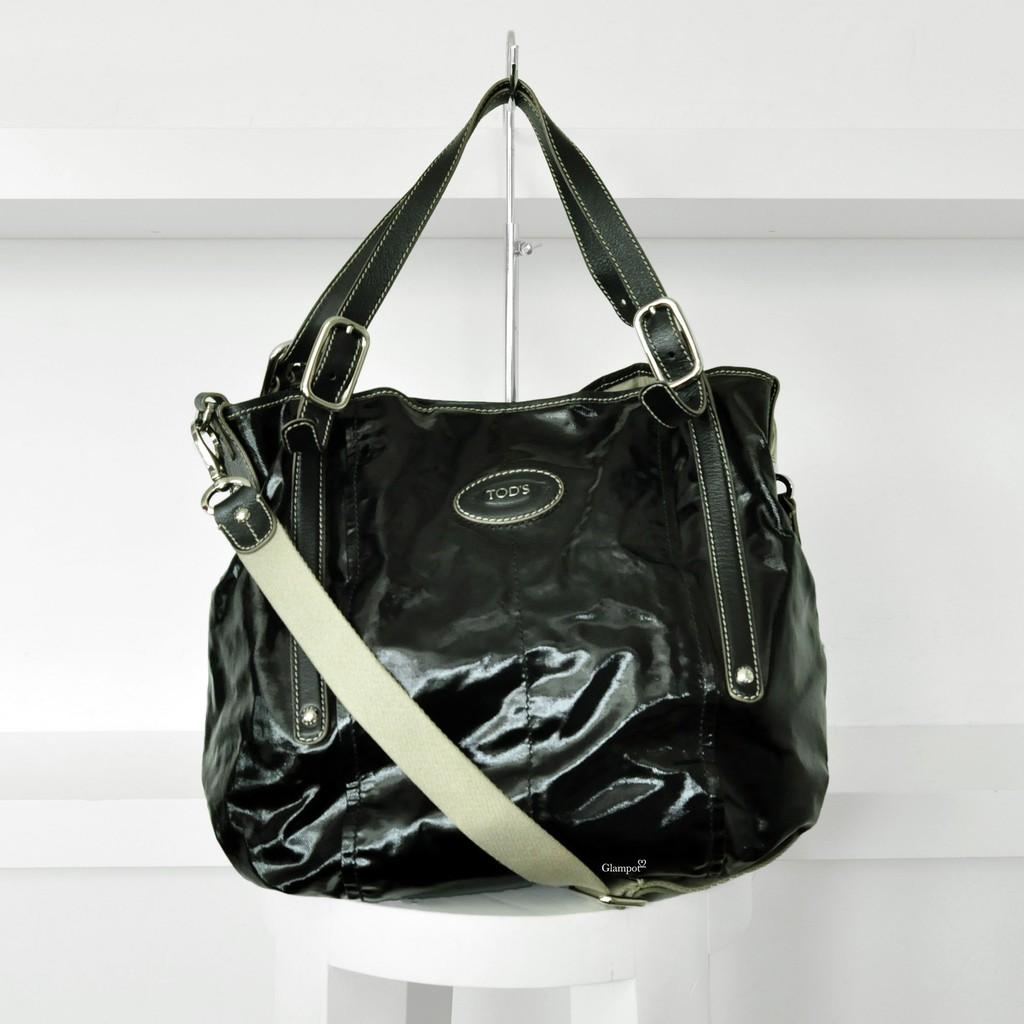e7c82d9282 Tod's G Line Easy Sacca Grande Tote Black Coated Canvas / Vachetta Trimming  | Shopee Malaysia