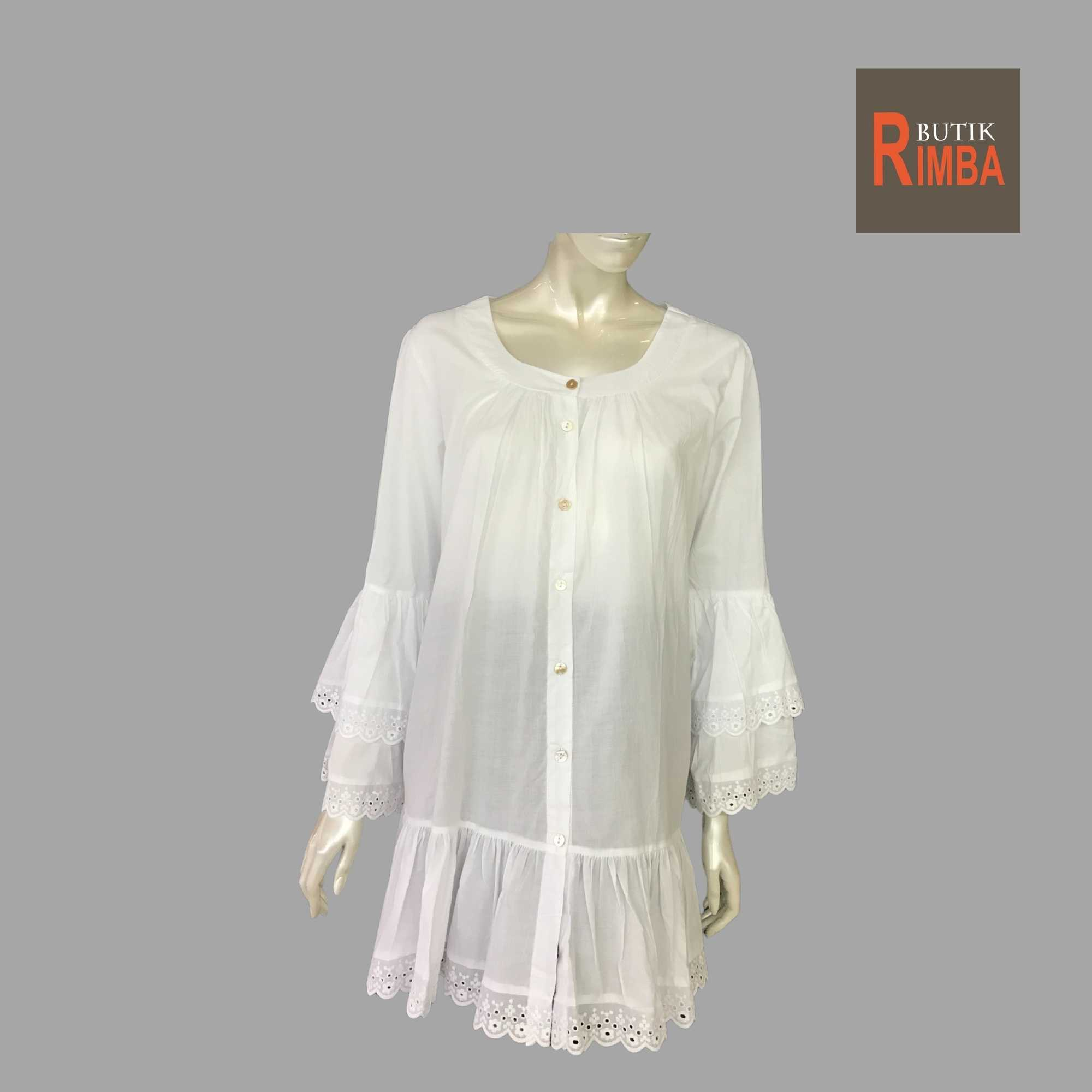 WOMEN CASUAL AND COMFORTABLE WHITE BLOUSE COTTON FREE SIZE PATTERN 01