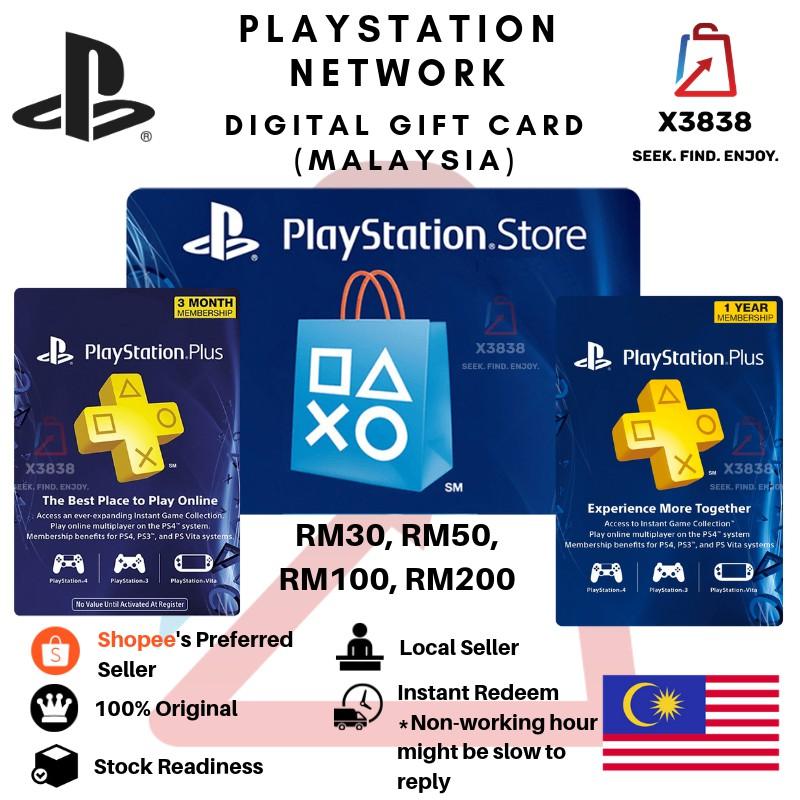 PLAYSTATION NETWORK PSN (Malaysia) Digital Gift Card for RM30 RM50 RM100  RM200