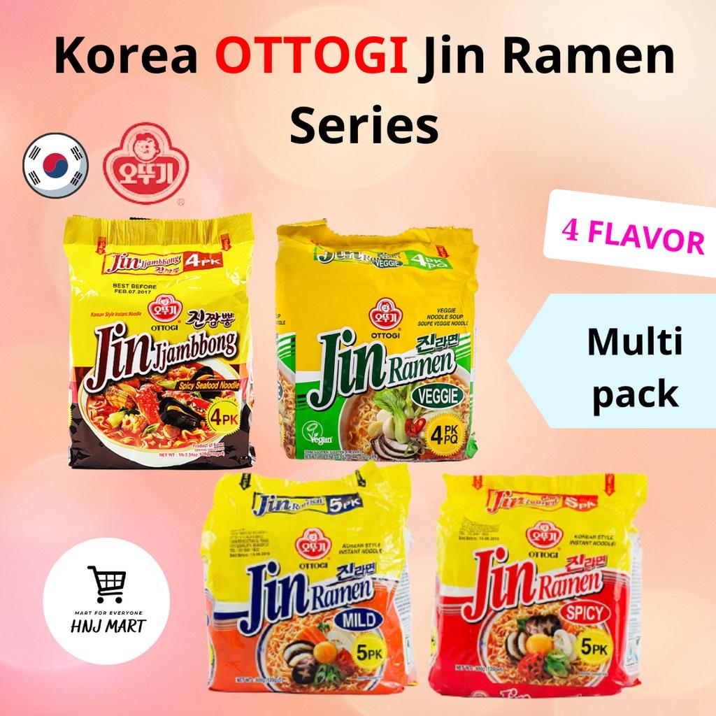 Korea Ottogi Jin Ramen Series 4 Flavor Multipack [Jin Jjambbong Jjambong Jjampong/Jin Veggie/Jin Mild/Jin Hot] 韩国不倒翁拉面