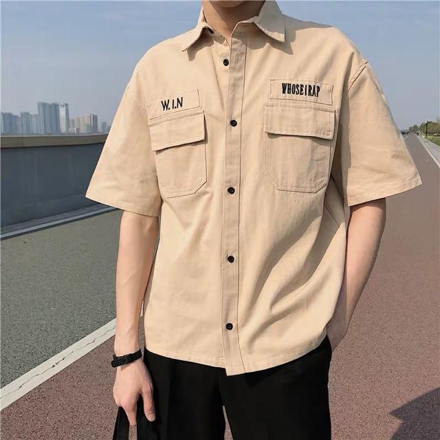[S~2XL] Men Clothing Japanese bf style retro short-sleeved shirt 港风超火潮牌工装bf男式短袖衬衫日系复古宽松衬衣男潮流夏季