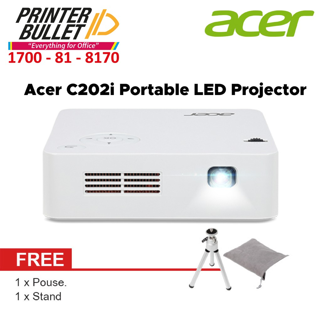 Acer C202i Portable LED Projector (FWVGA, 854 x 480, 300 ANSI, 5000:1, HDMI)