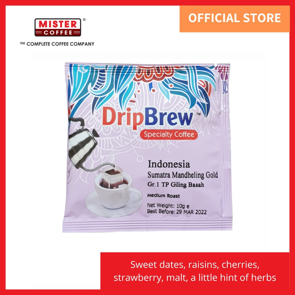 [Mister Coffee] Specialty Coffee Drip Coffee Indonesia Sumatra Mandheling Gold / Grade 1 TP (Giling Basah) - 1 sachet