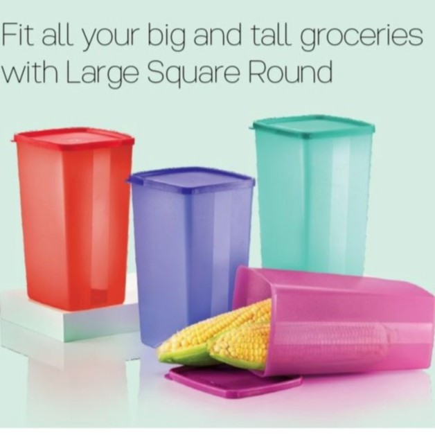 Tupperware Large Square Round 2.0L (4 Nos) / Red / Blue / Purple / Green