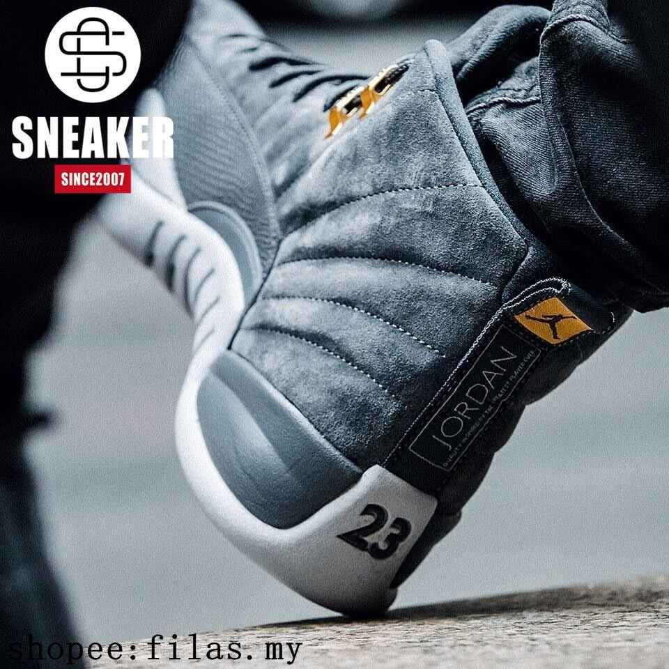 low priced 833de 59358 Authentic NIKE AIR JORDAN 12 Dark Grey AJ12 Grey suede. 130690-005