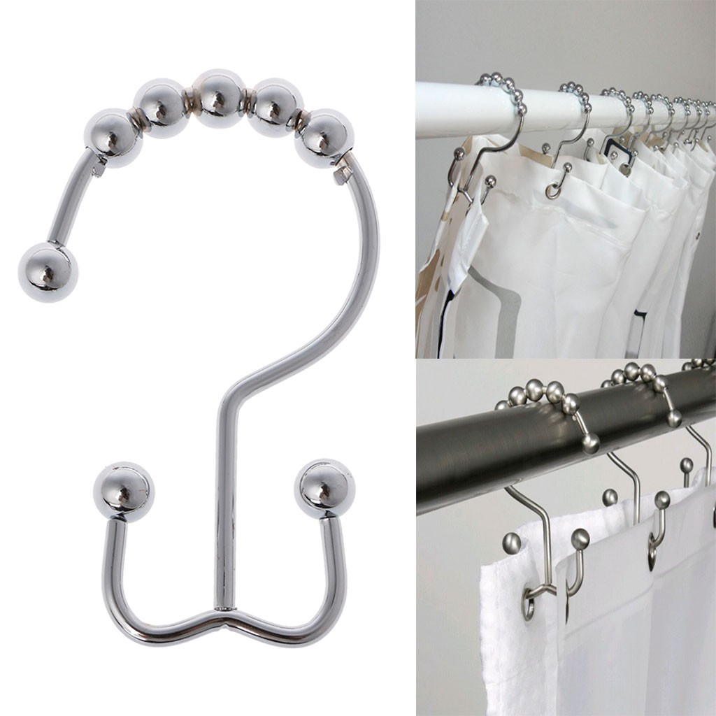 12pcs Stainless Steel Double Hook Polished Nickel Gliding Shower Curtain Rings