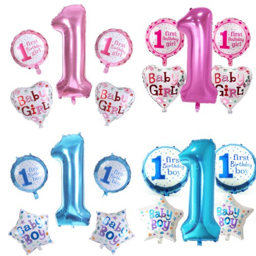 บอลลูน ฟอยล์ ตกแต่งปาร์ตี้วันเกิด Baby 1st Birthday สีฟ้า ชมพู  5