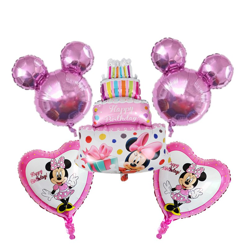 Remarkable 5Pcs Mickey Minnie Mouse Birthday Cake Foil Balloons Mickey Head Funny Birthday Cards Online Alyptdamsfinfo
