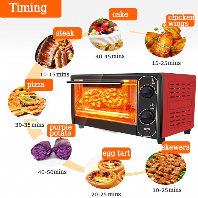 12L Electric Oven Toaster Oven Baking Oven Bread Cooker Grill Cooking Egg Tart Roasting Timing Bakeware Wire Rack Househ