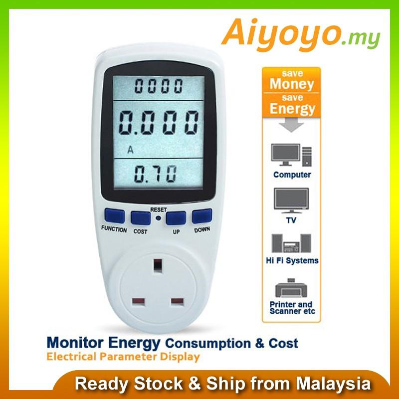 Power Meter Plug Socket Watt Volt Voltage Electricity Monitor Analyzer Outlet