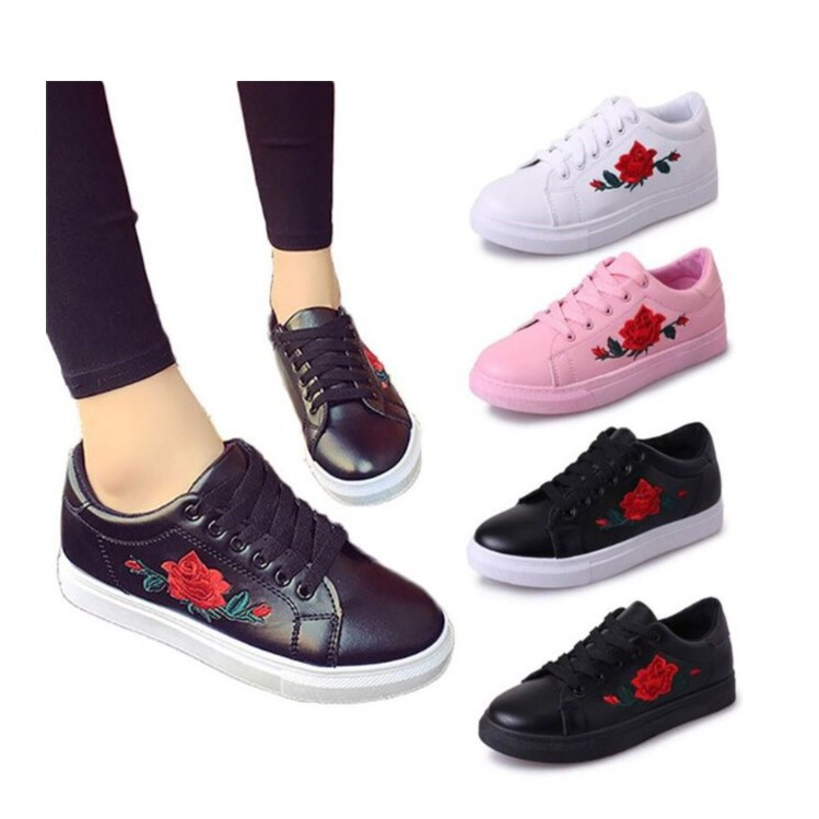 18c4aa5b6 CRAZY SALE Malaysia Ready Stock Rose Embroidery Sneakers Casual Women Flat  Shoes