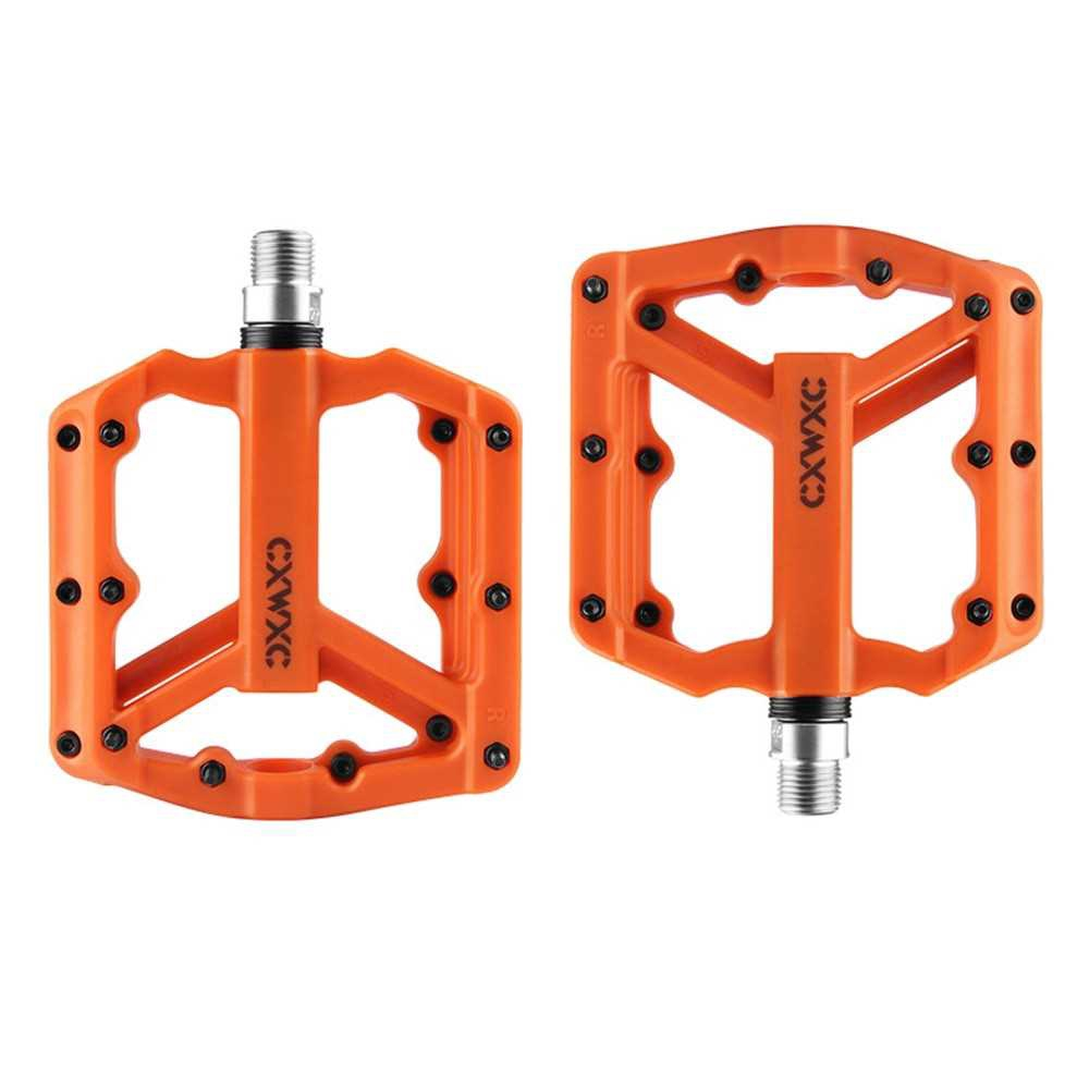 Nylon Bicycle Pedal Pair Steel MTB Road Bike Pedals 3 Sealed Bearing Cycling Parts (Orange)