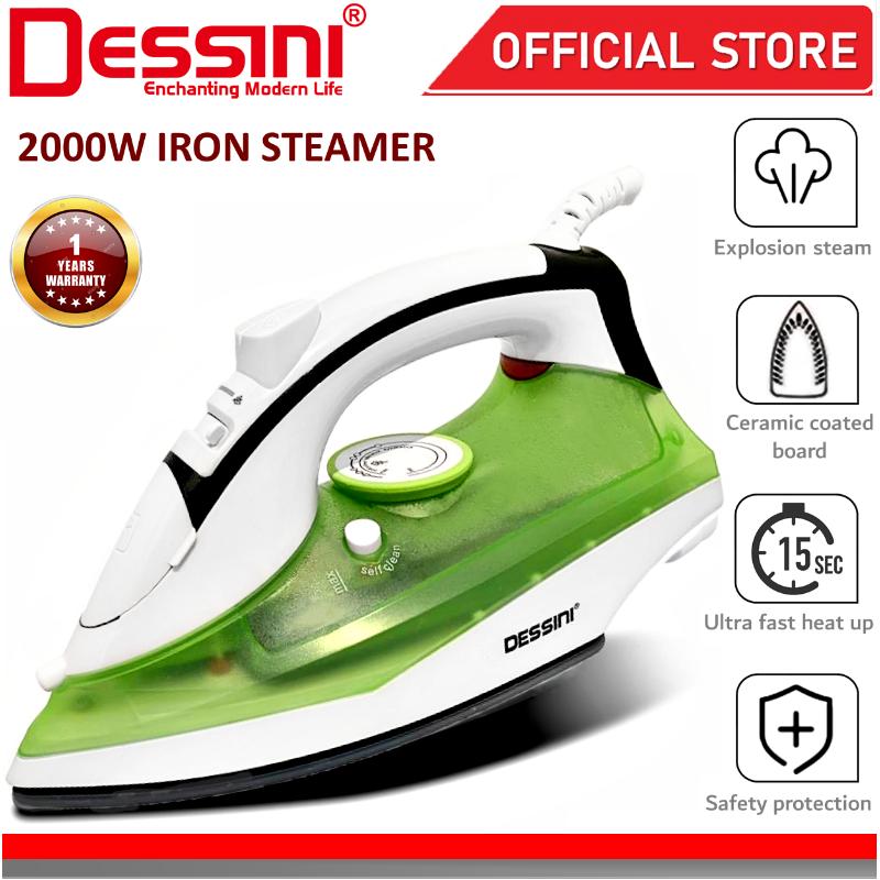 DESSINI ITALY Electric Ceramic Soleplate Garment Steam Iron Sprayer Steamer Clothes Brush Seterika Baju (2000W)