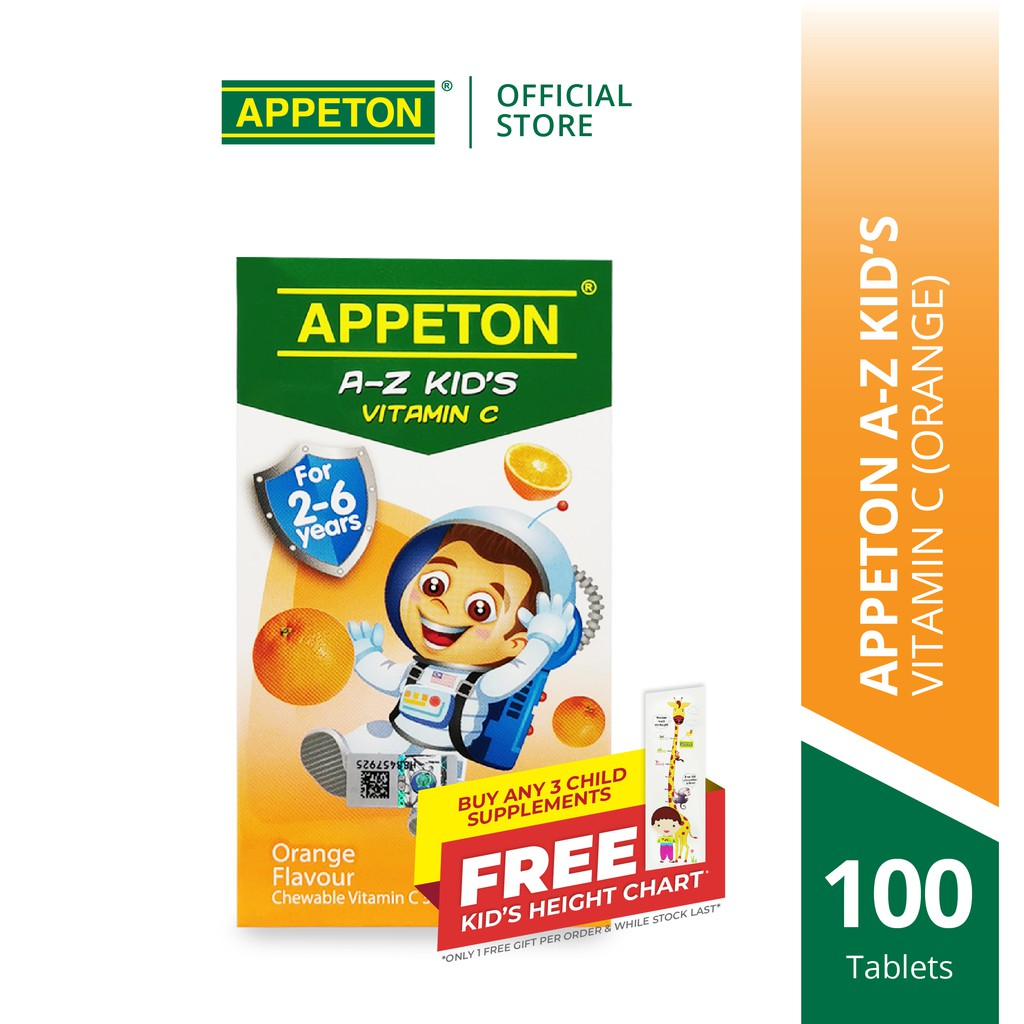 APPETON A-Z KID'S Vitamin C 30mg Chewable Tablet for 2-6 Years Old Orange for Children Immunity (100's)