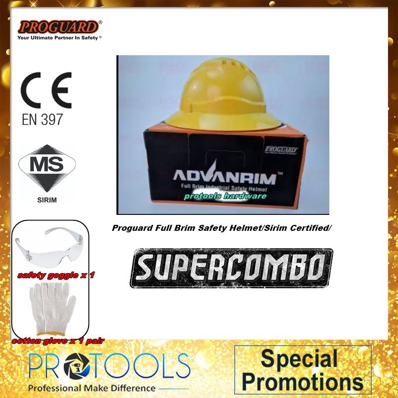 Proguard Full Brim Safety Helmet/Sirim Certified/满边安全帽 - BLUE,WHITE ,YELLOW FOC 2THING!