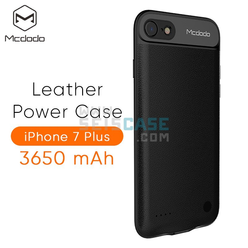 brand new b391c ddbe3 Mcdodo iPhone 7 / 7 Plus Powercase Fast Charge Powerbank Black Leather Cover