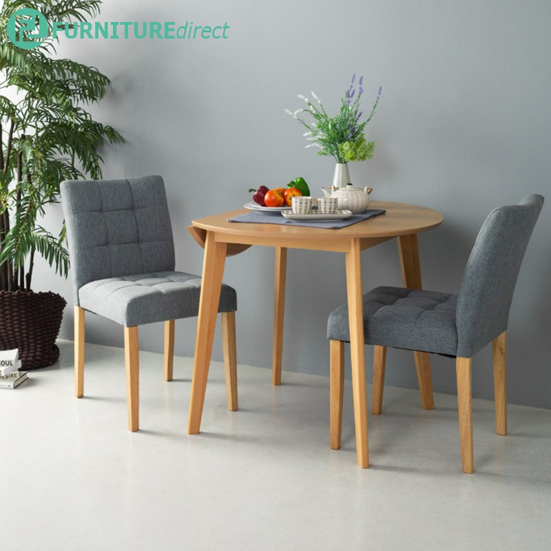 Furniture Direct OVEN 2 seater round drop left extension dining set