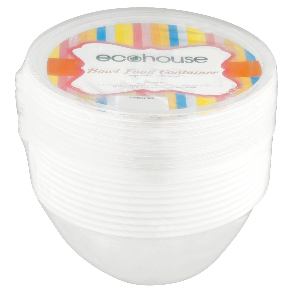 Ecohouse Bowl Container B1050W (1050ml x 10's)