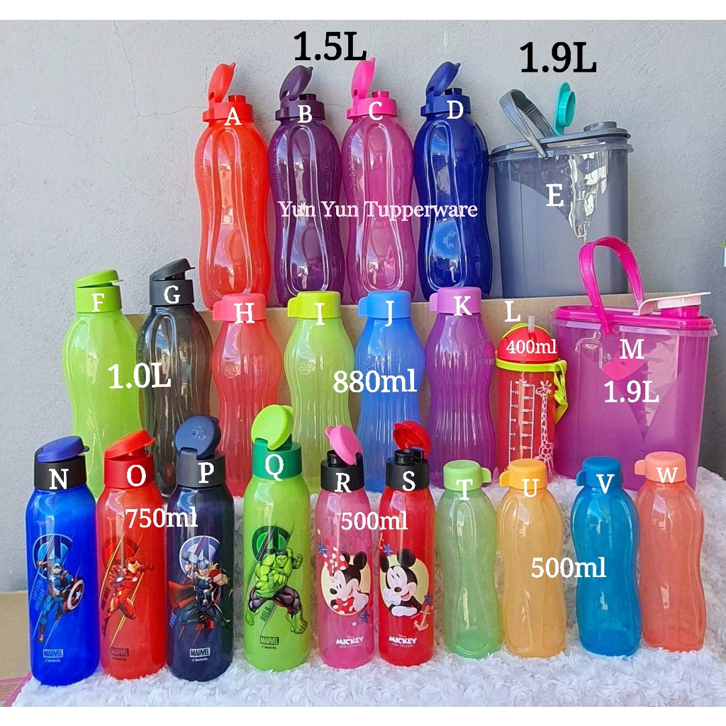 Tupperware Eco Bottle (1 PC) - 1.5L / 1L / 750ml / 500ml / 400ml / 350ml  / 310ml / Strap