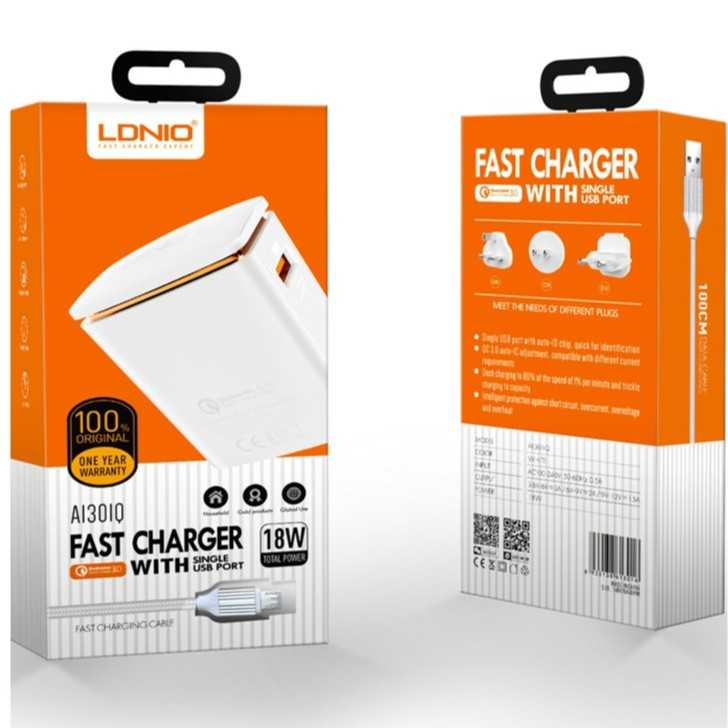 LDNIO A1301Q Qualcomm Quick Charge 3.0 with Type C 18W Single USB ...