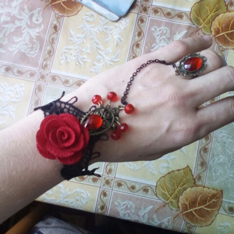 Wrist Cuffs Bracelet Red Rose Lace Gothic Bronze Chain Ring Charm 1pc Bangle CH