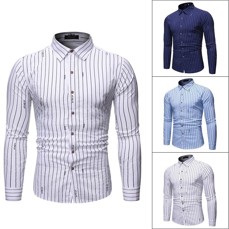 Men S Fashion Vertical Stripe Print Shirt Long Sleeve Business Shirt Shopee Malaysia