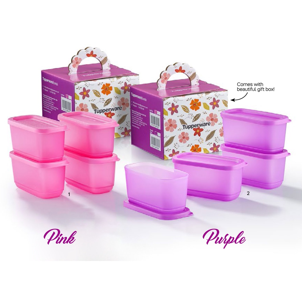 Tupperware Sweet Twinkets Gift Set 250ml (4pcs) / Cubix Mini Rectangular 250ml (2pcs) / Rainbow Cubes Gift Set 80ml