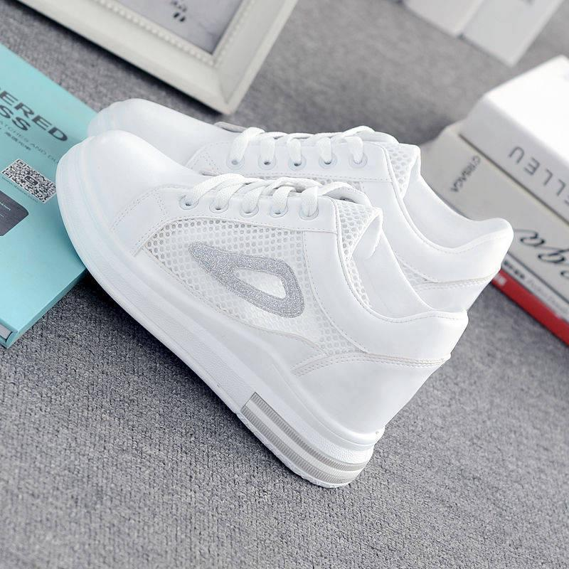 6cm Basic White Shoes Breathable Hollow Sports Shoes Mesh