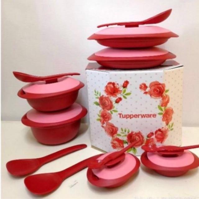 Tupperware  Royal Red Serving Set (PWP Sambal Dish & Blossom Condimate)