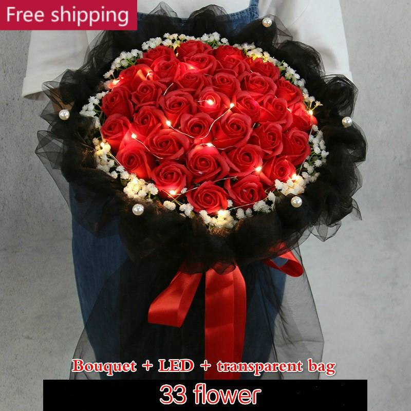 24cb6fa069f39 33 red Soap Flowers Gift Bouquet Roses Simulation Birthday Valentine
