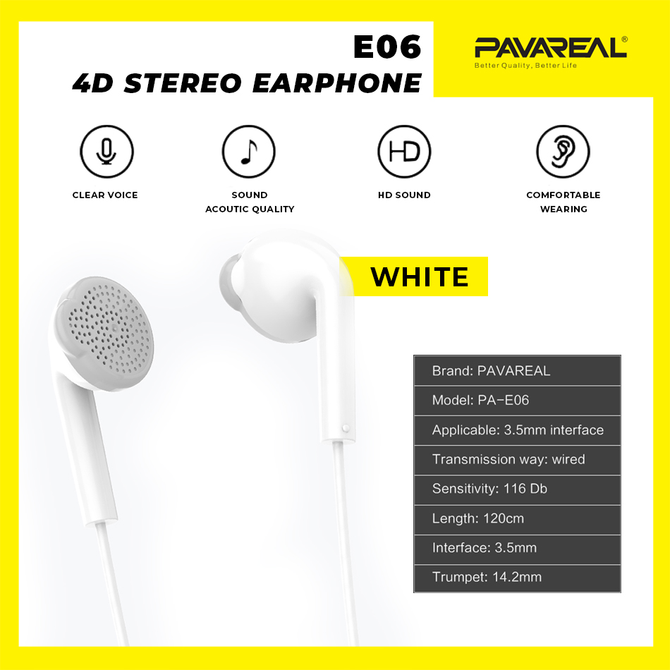 PAVAREAL PA-E06 4D Stereo HD Music Headset 4D Stereo Earphone Headphone In-Ear Call Music Built-in Mic Android iOS 1.2M