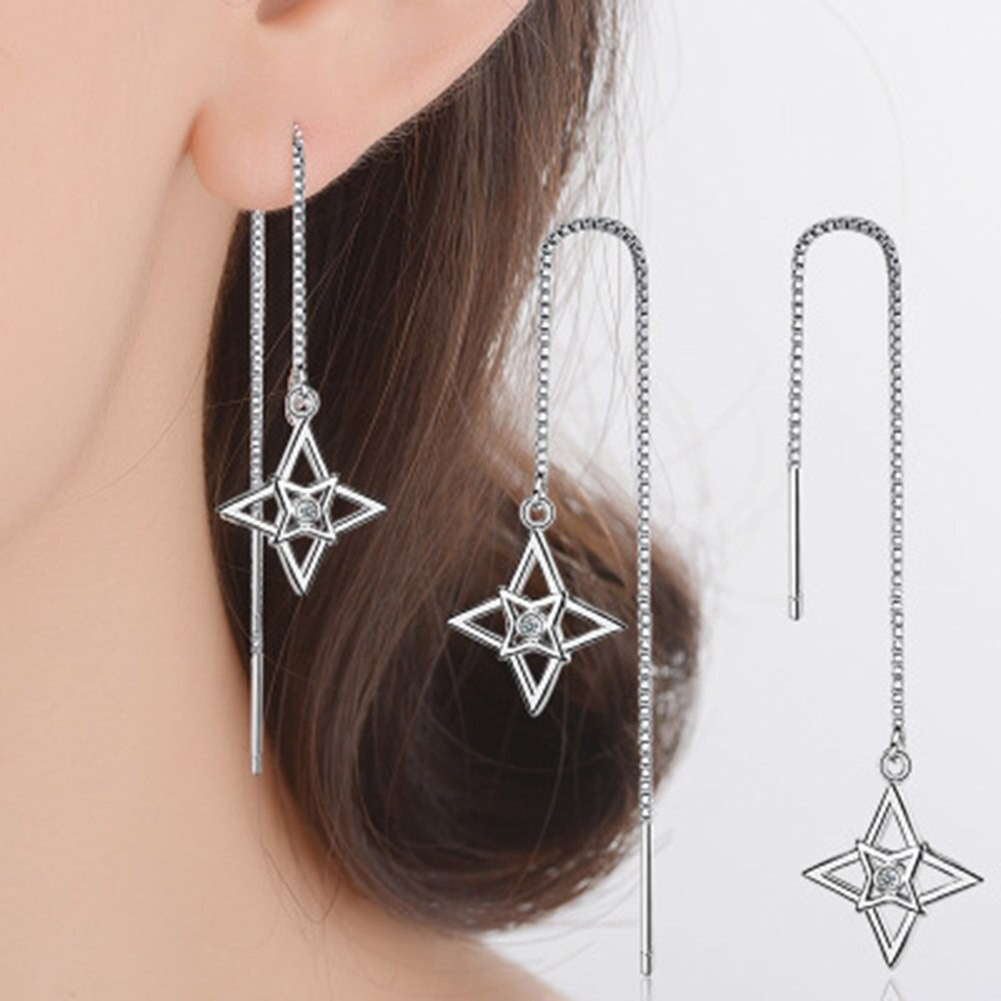 Women Charm Clover Long Tassel Chain Stud Ear Lines Dangle Earrings Hook Jewelry