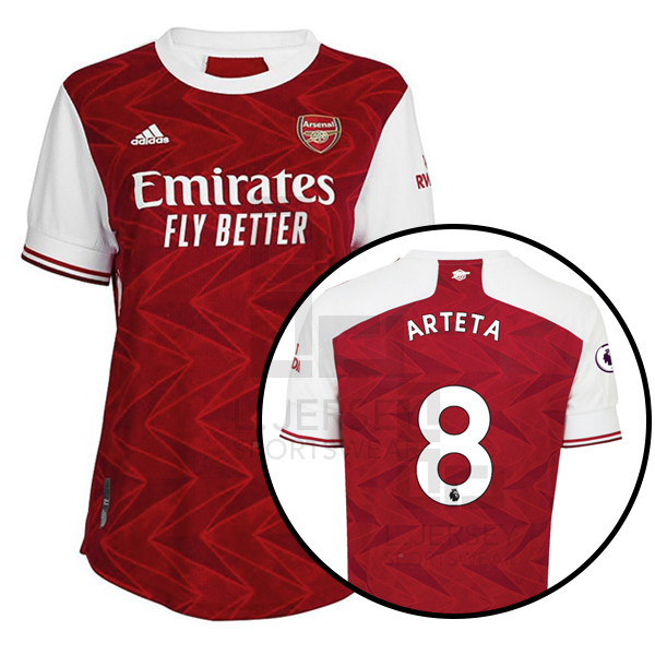 Arsenal Women Home Season 20/21 AEROREADY Fans Issue Jersey with EPL #8 ARTETA + Patch Printing