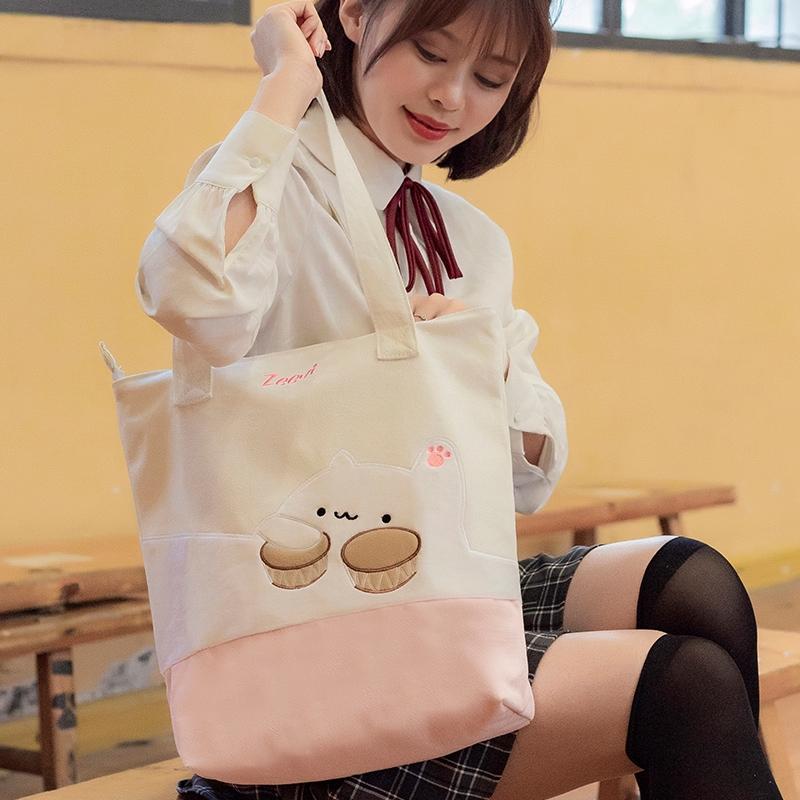 Women Cute Cartoon Cat Cake Tote Bag Casual Canvas Sling Beg Handbag Bags Sling Shoulder Bag Korean Large Capacity Bag