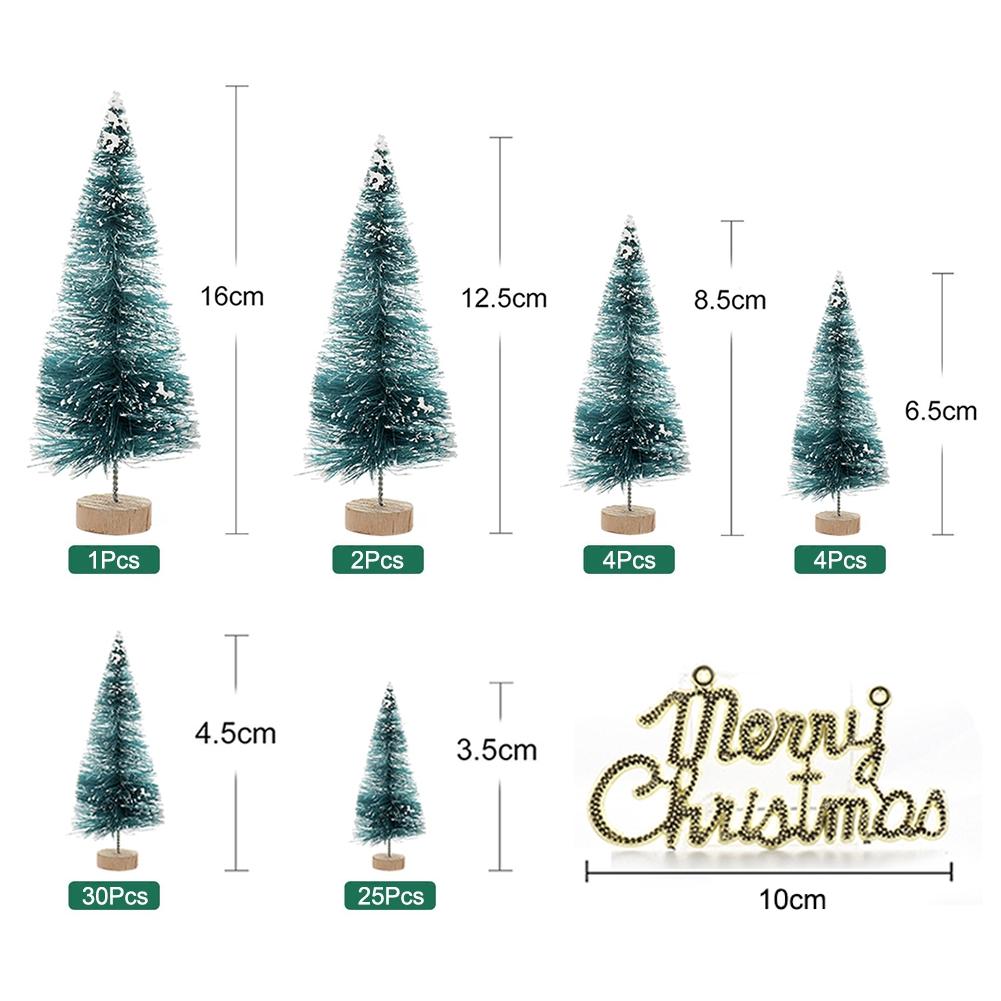 4pcs Small Christmas Tree Fake Pine Tree Mini Sisal Bottle Brush Snow Frost Tree