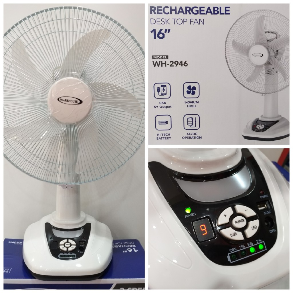 16' Rechargeable Table Fan with USB charging port